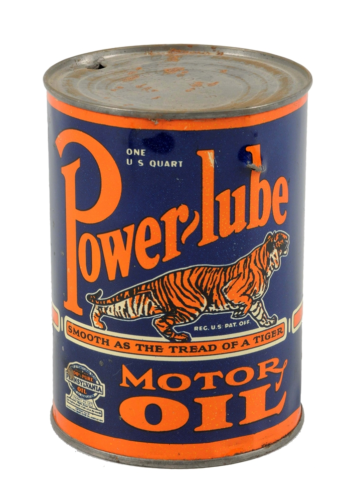 Power-lube Motor Oil w/ Tiger Quart Can.