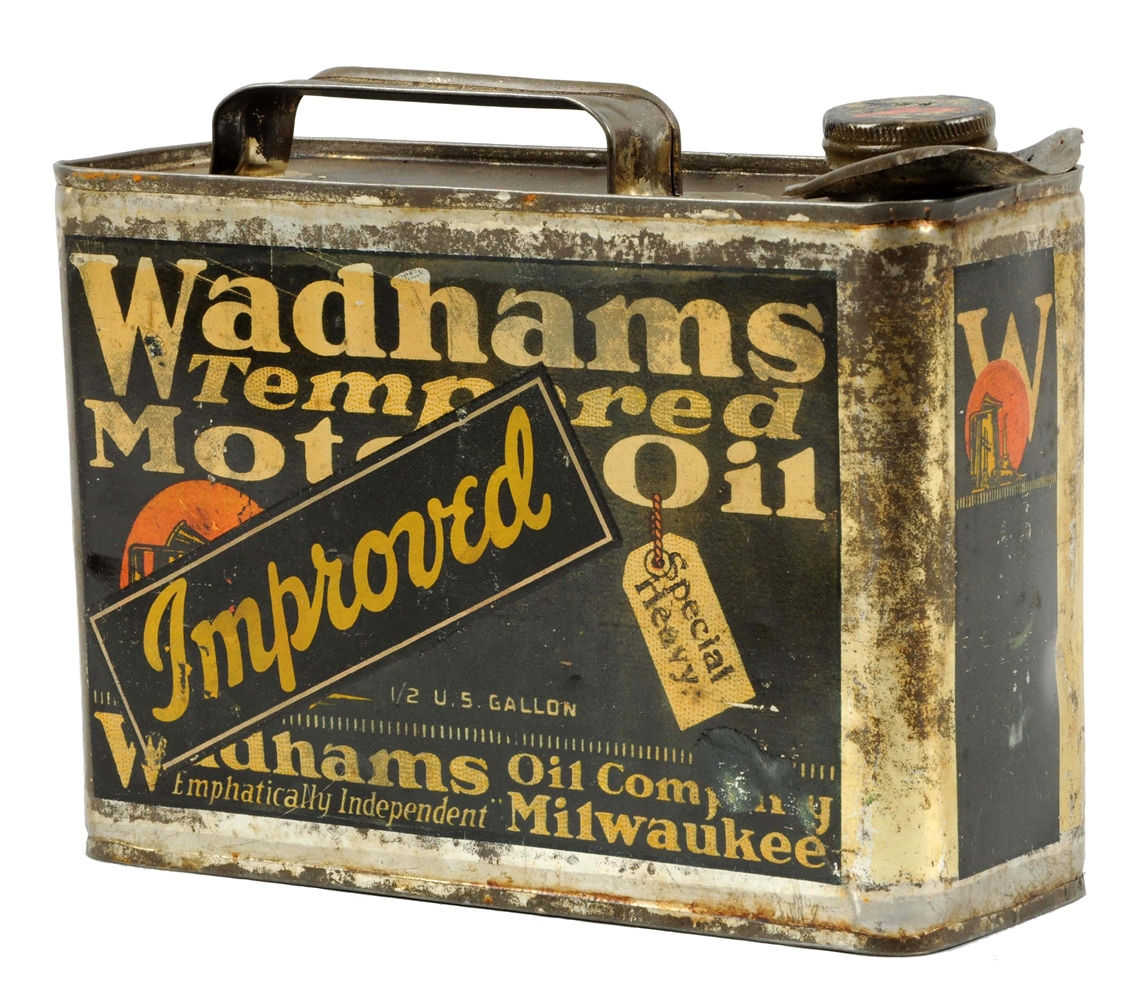 Wadhams Tempered Motor Oil Half Gallon Flat Metal Can.