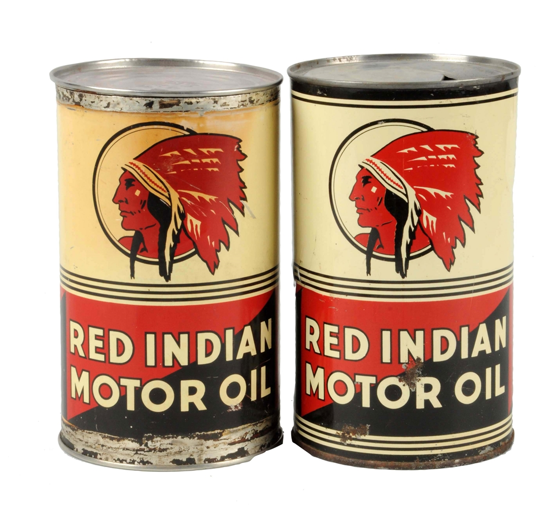 Lot of 2:  Red Indian Motor Oil Quart Cans.