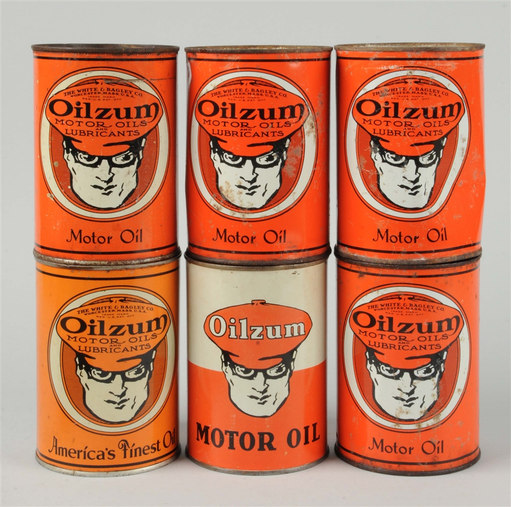 Lot of 6:  Oilzum Motor Oil One Quart Cans.