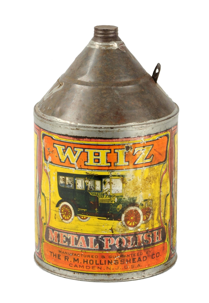 Whiz w/ Car One Gallon Cone Top Can.