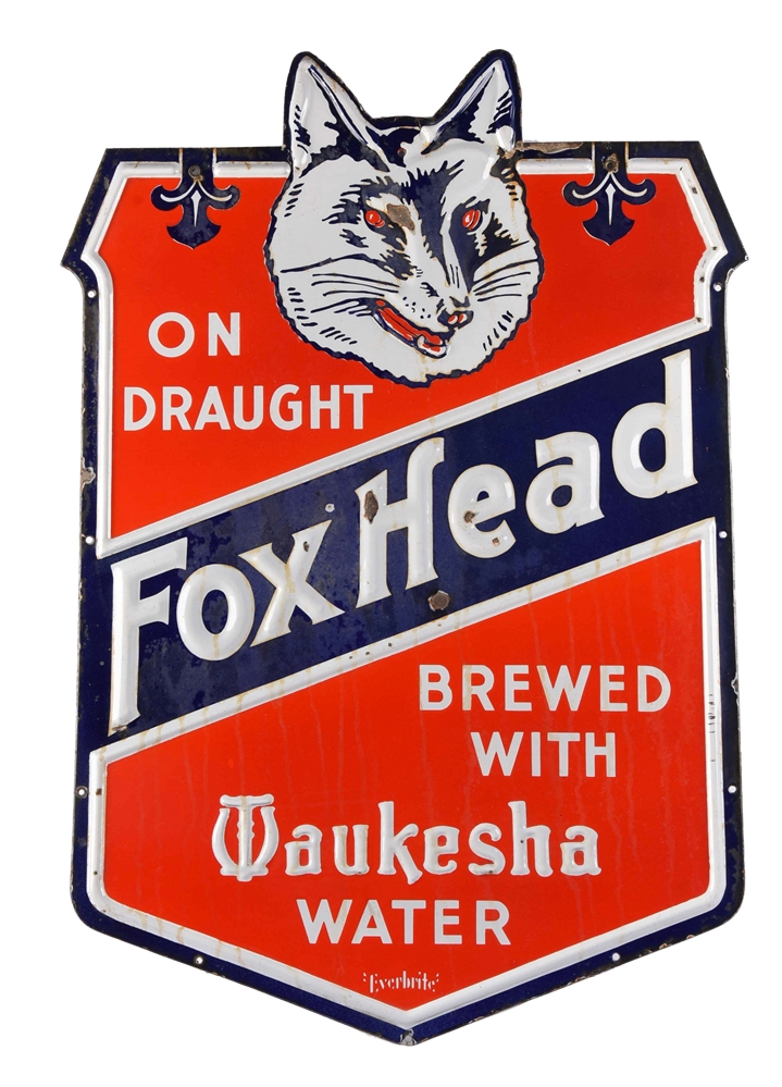 Fox Head Beer Porcelain Sign.