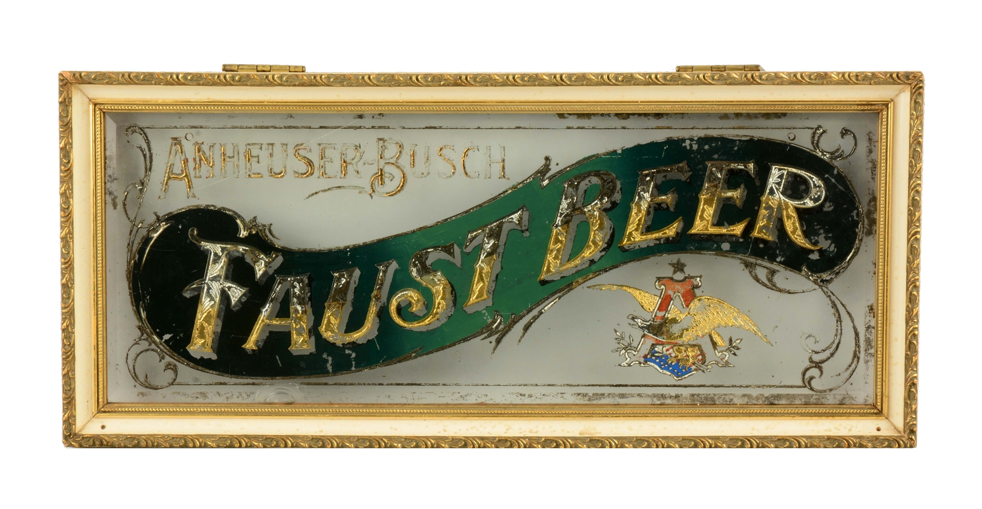 Anheuser-Busch Faust Beer Reverse Glass Sign.