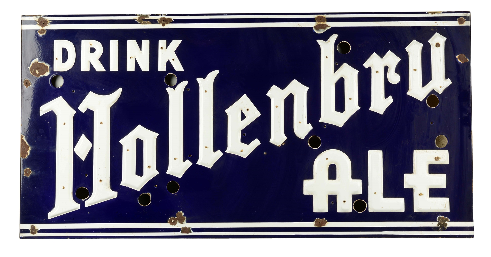 Drink Hollenbru Ale Porcelain Sign.