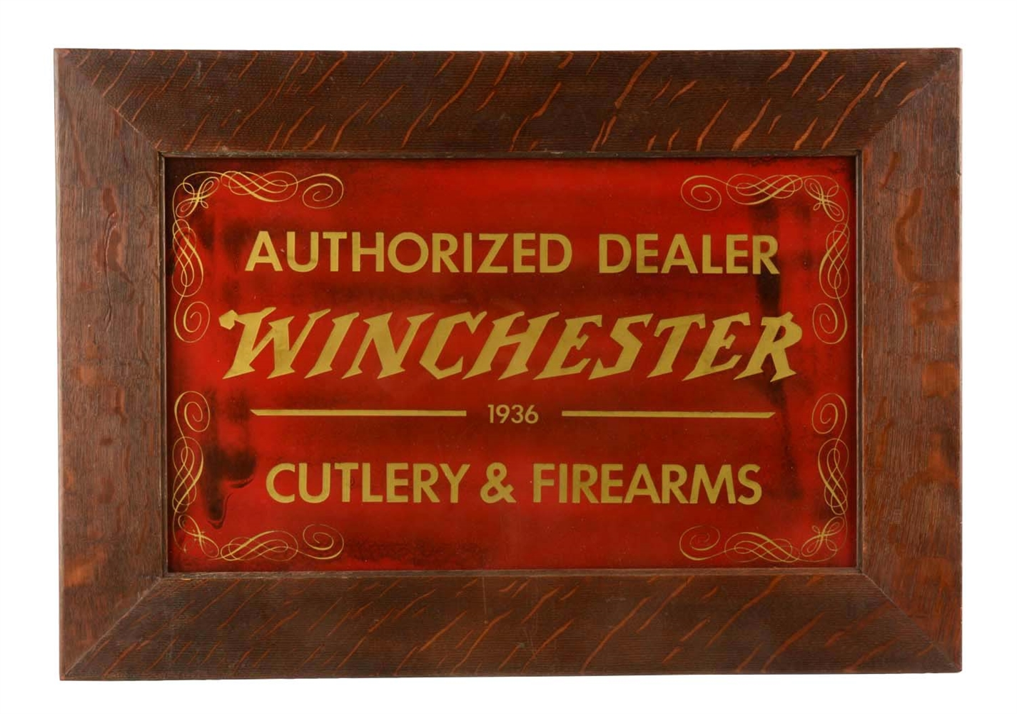 Winchester Dealer Glass Store Sign.