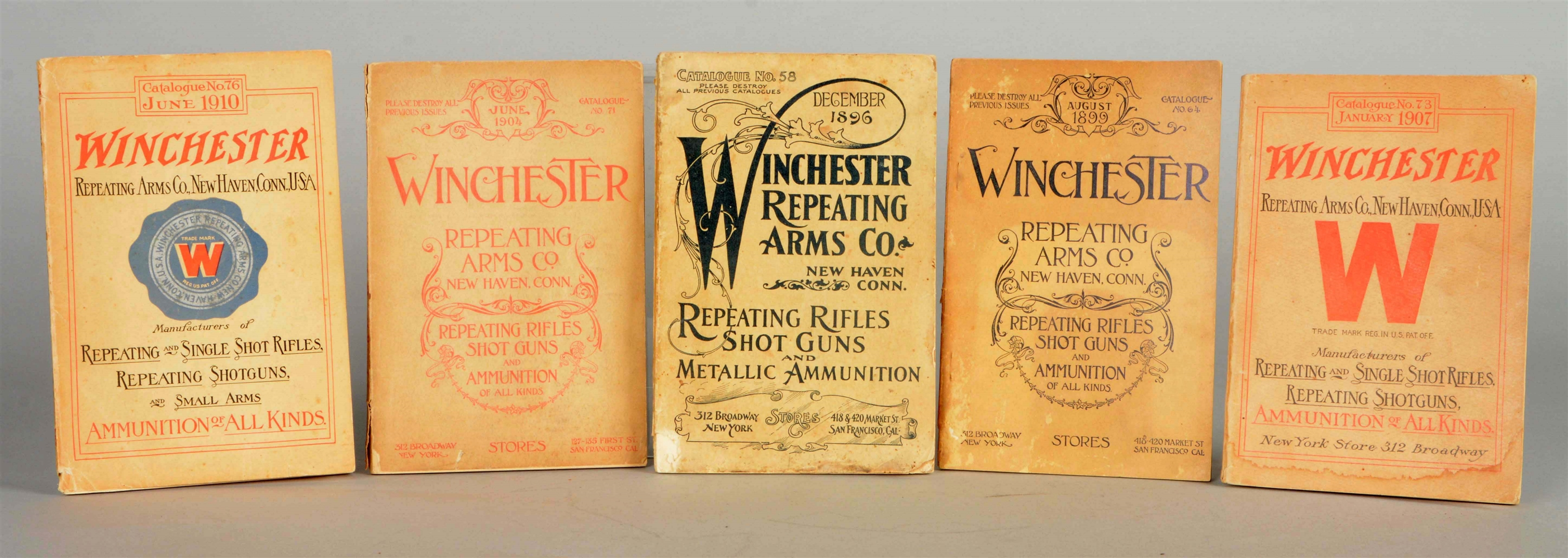 Lot Of 5: Assorted Winchester Repeating Arms Co. Catalogs.