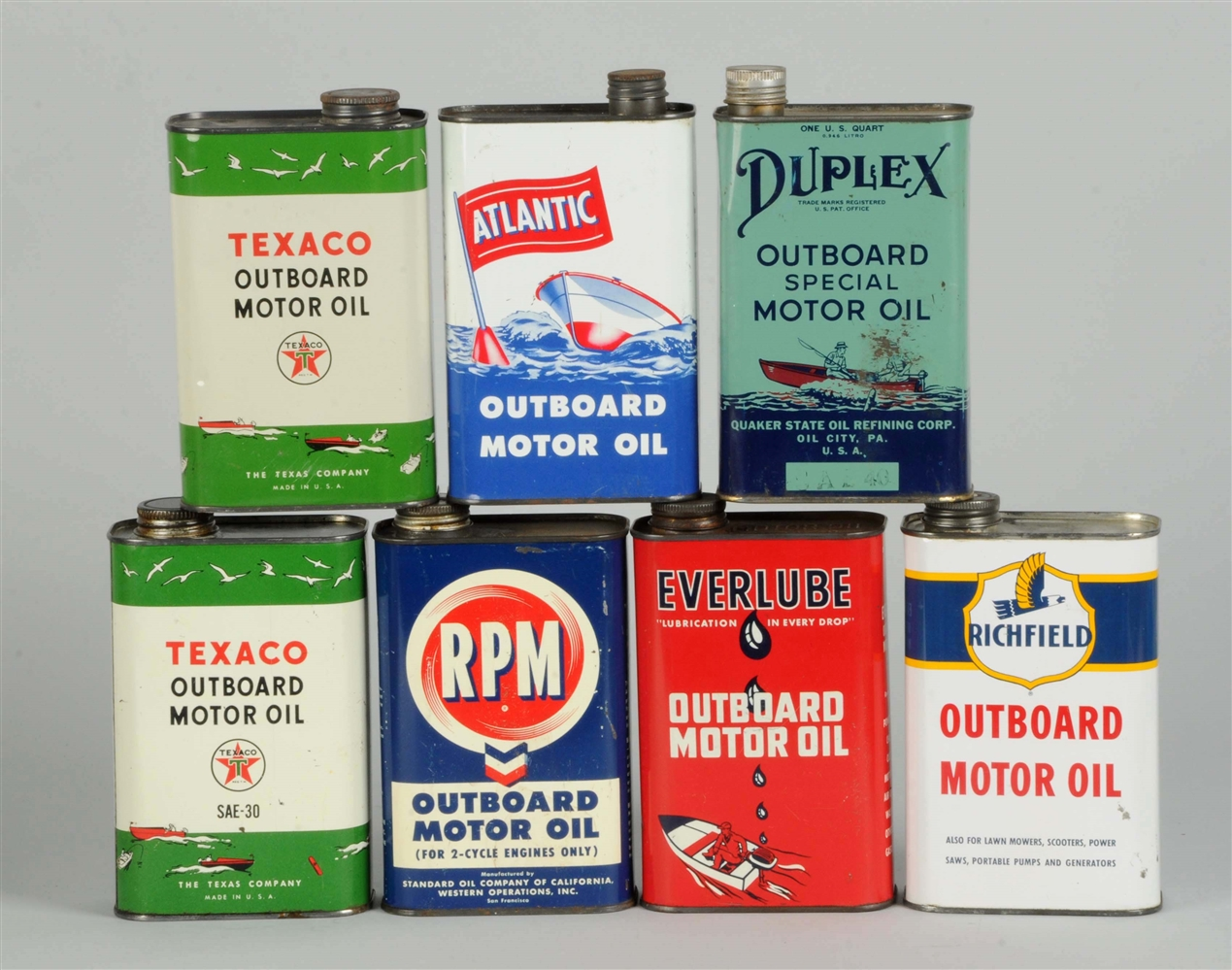 Lot of 7: Flat Outboard Motor Oil One Quart Flat Metal Cans.