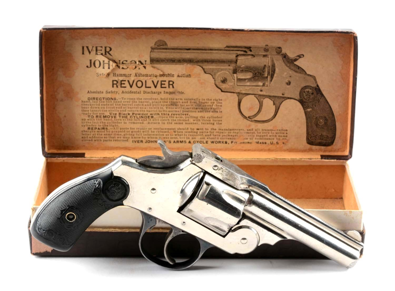 (A) Boxed Iver Johnson .38 Top Break Double Action Revolver.