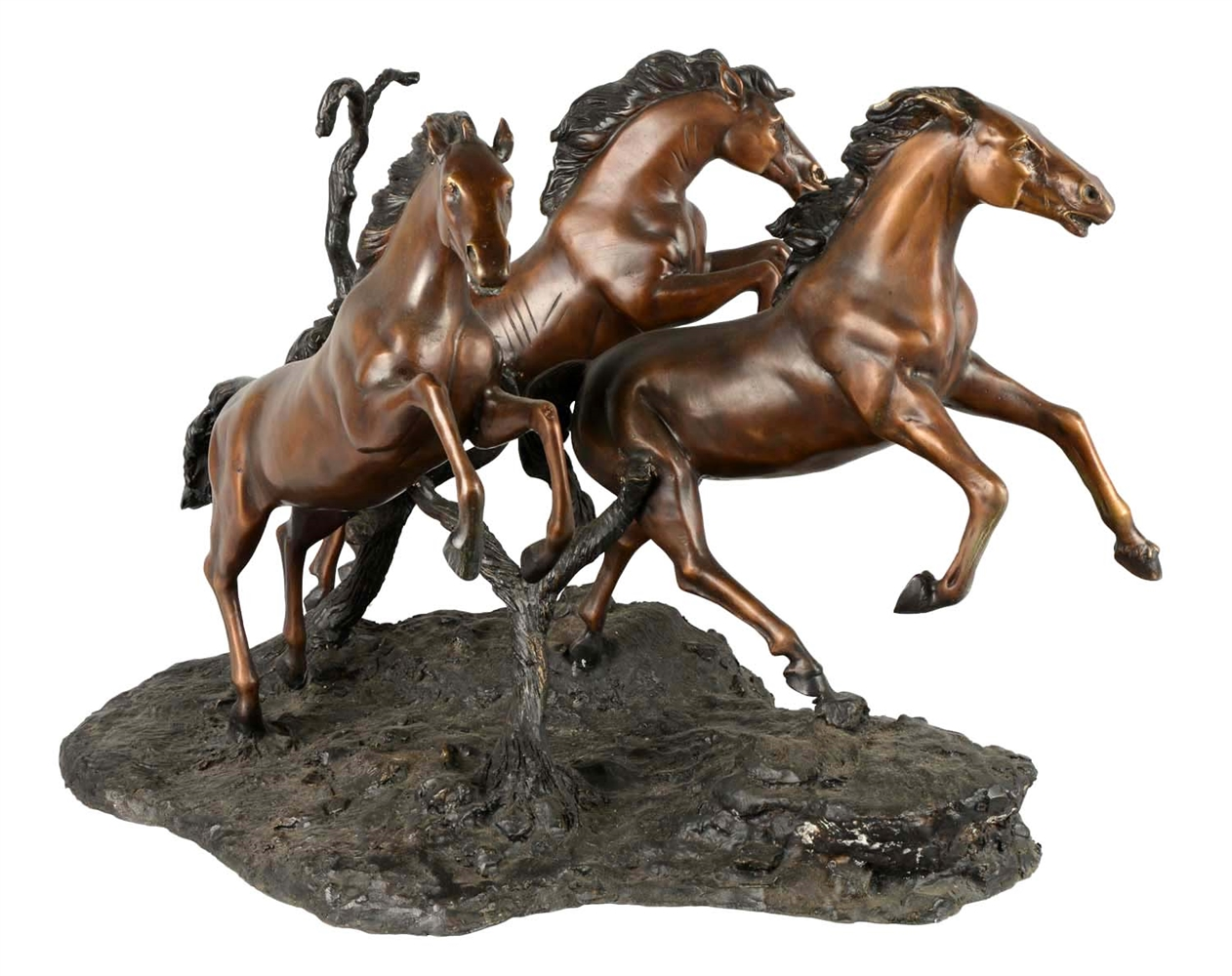 Bronze Sculpture Of Three Running Horses.