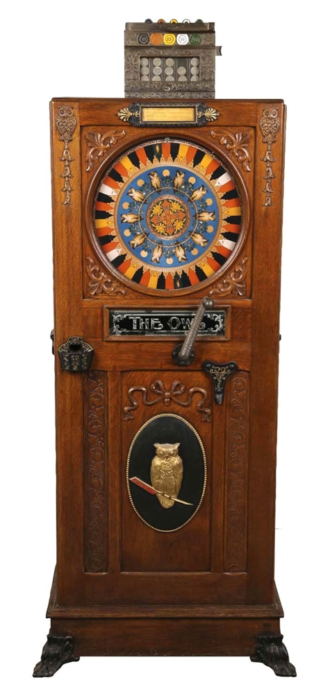 "**5¢ Mills Novelty Co. ""The Owl"" Upright Floor Wheel Slot Machine."