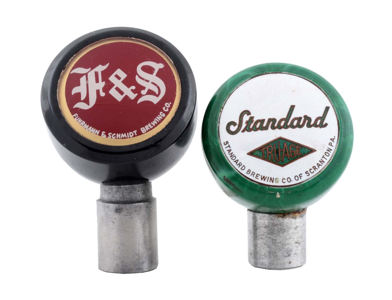 Lot Of 2: F & S and Standard Beer Tap Knobs.