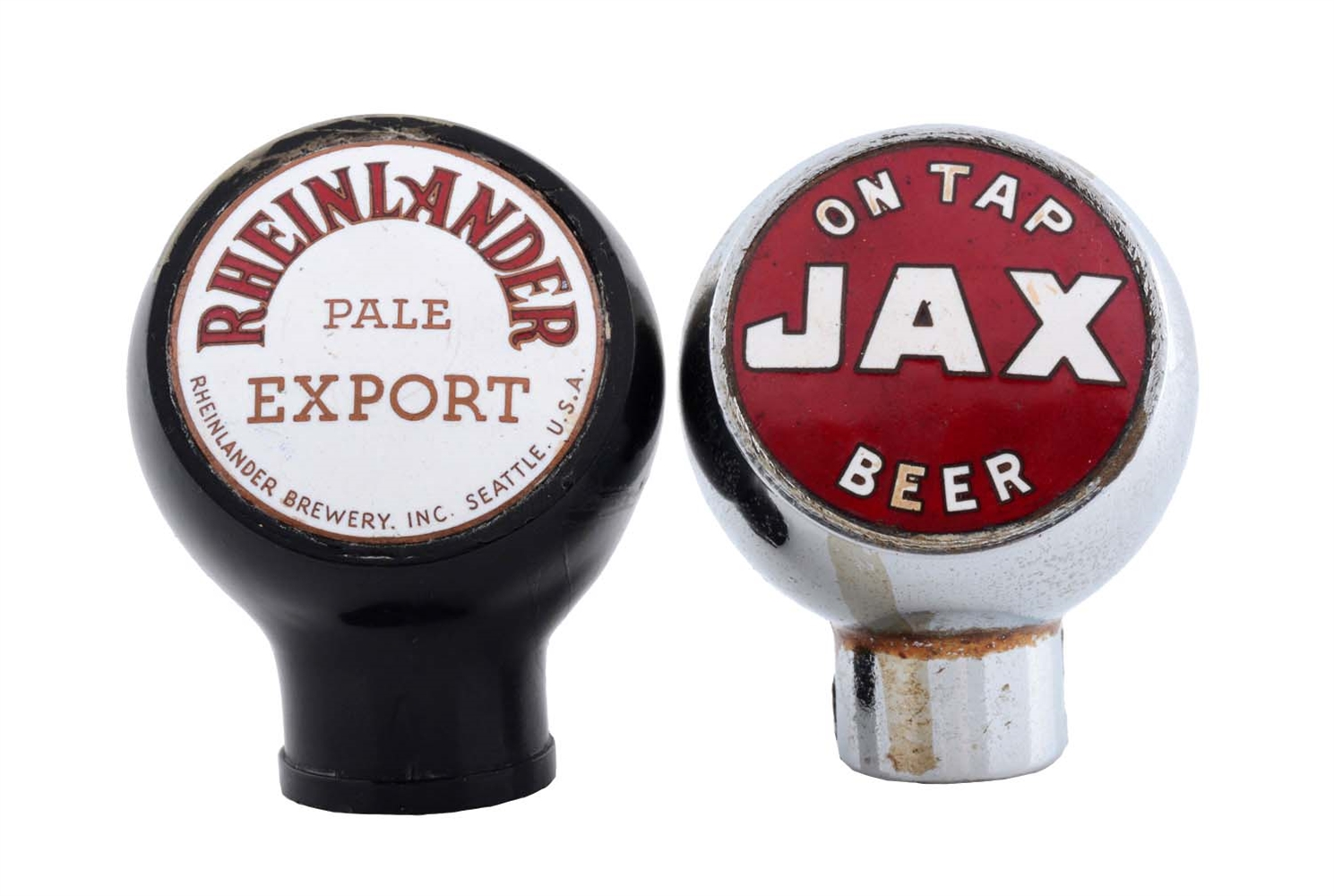 Lot Of 2: Jax and Rheinlander Beer Tap Knobs.