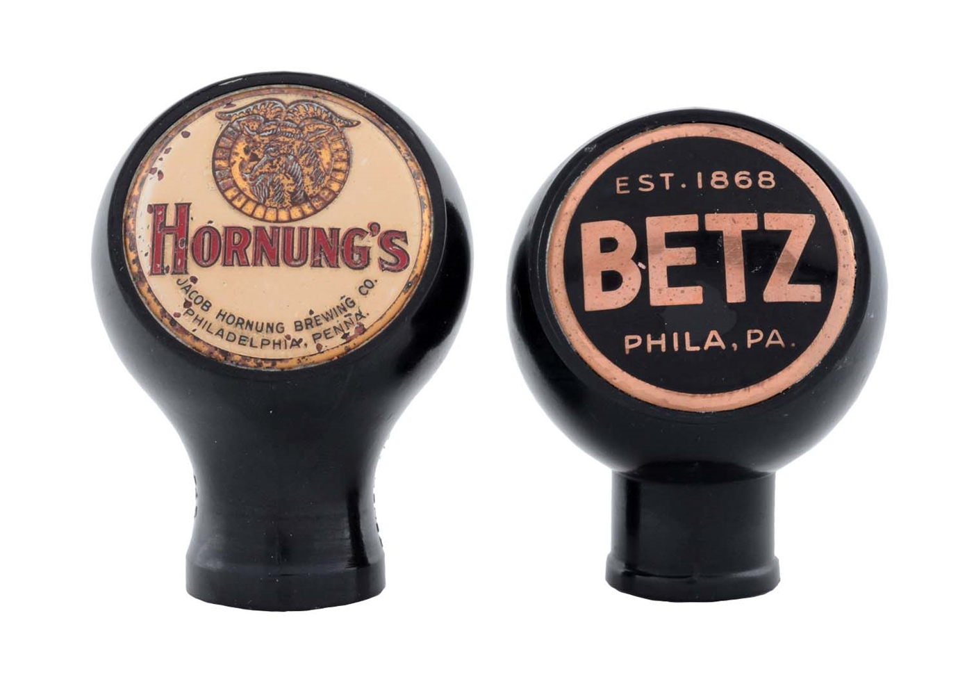 Lot Of 2: Betz & Hornungs Beer Tap Knobs.