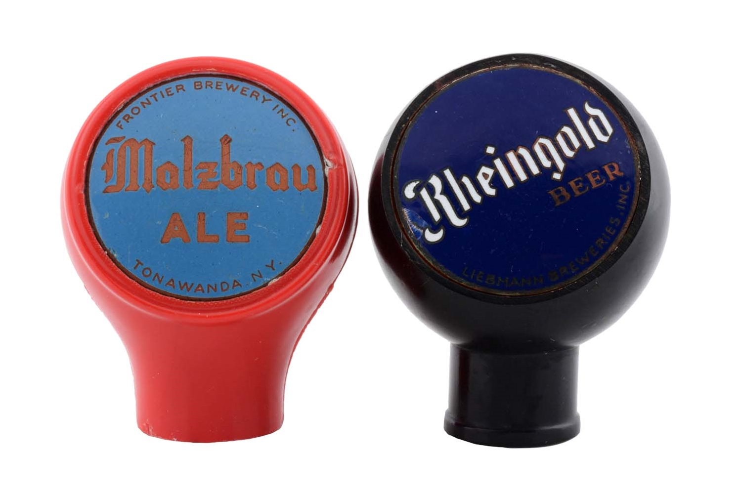 Lot Of 2: Molzbrau Ale & Rheingold Beer Tap Knobs.