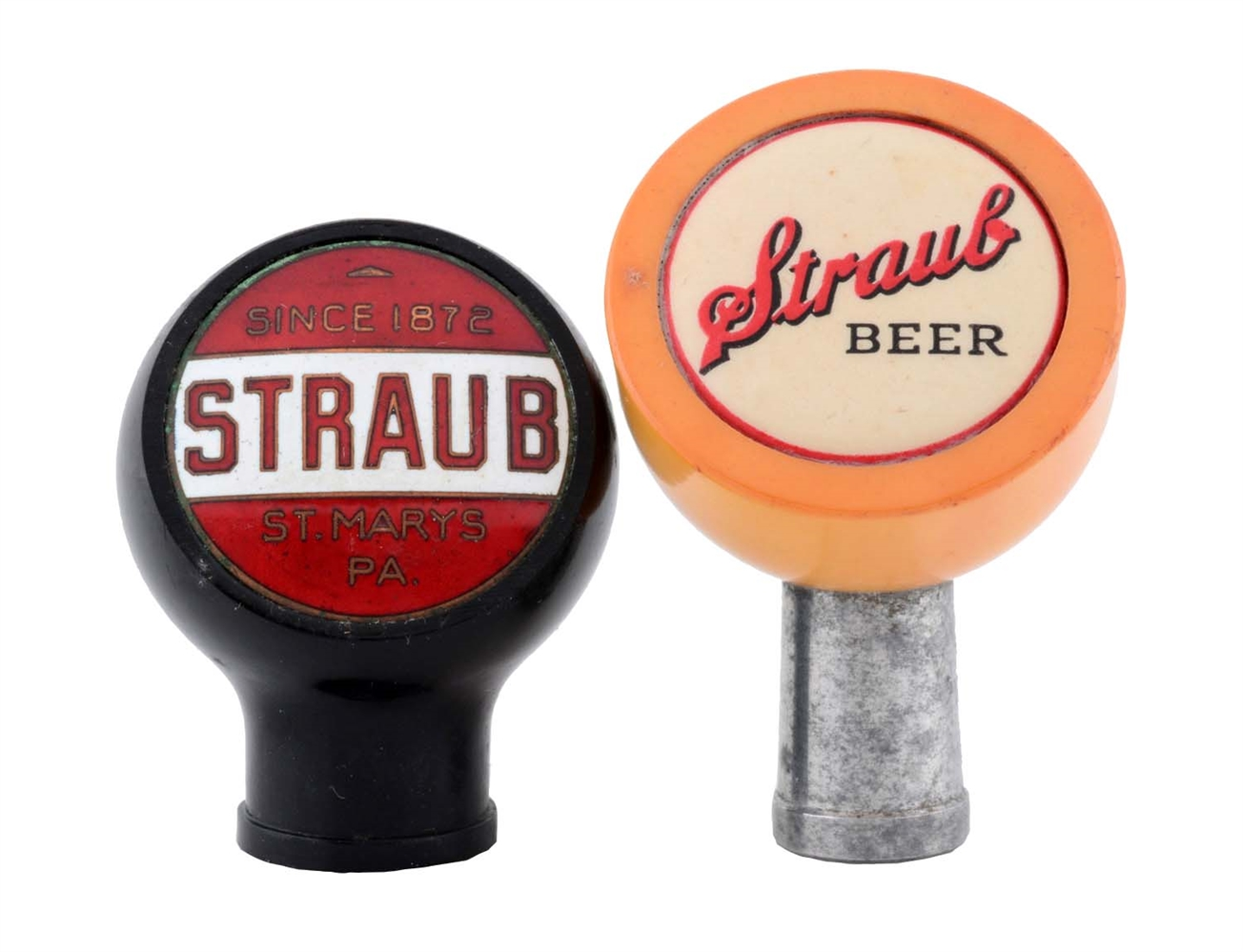 Lot Of 2: Straub Beer Tap Knobs.
