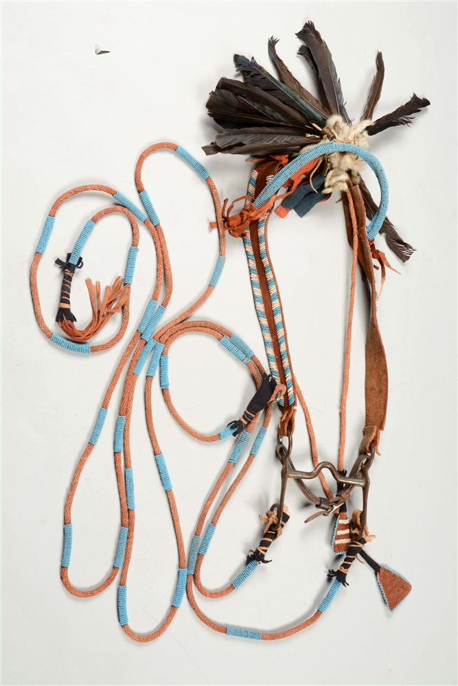 Plains Beaded Bridle With Bit And Beaded Reins.