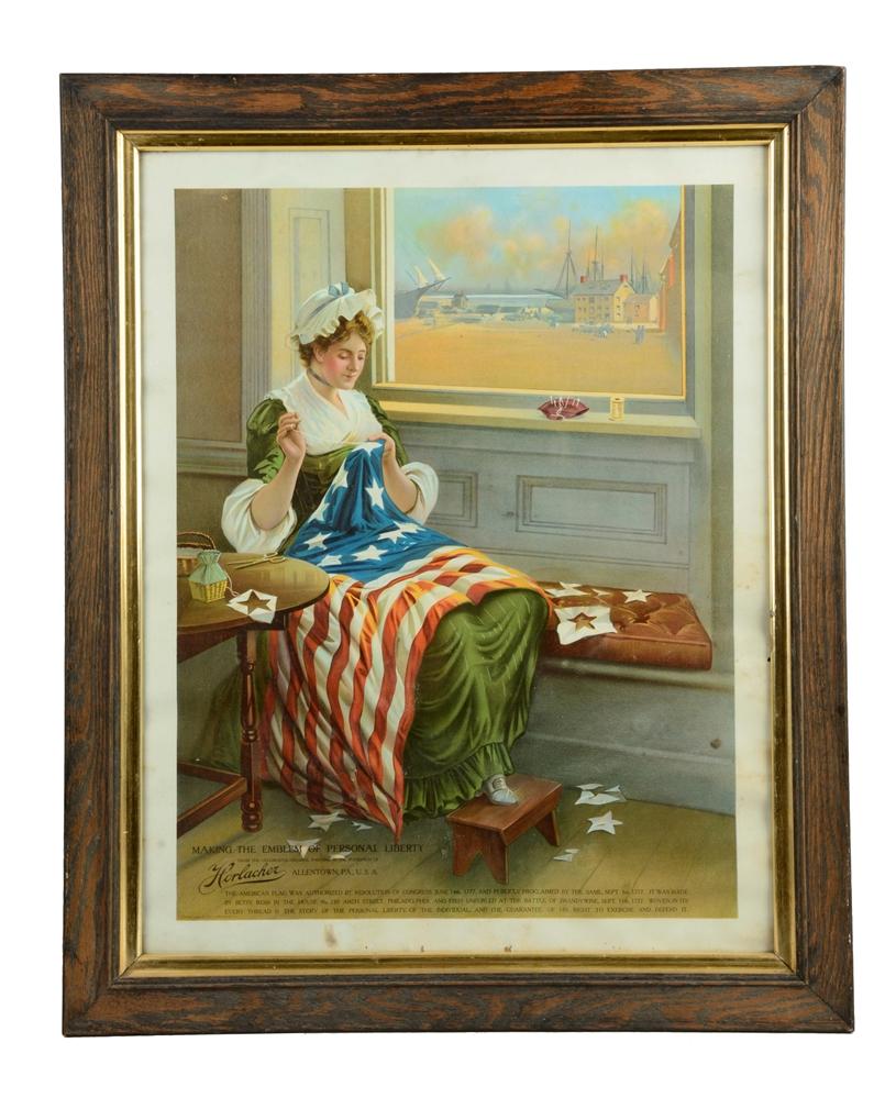 Horlacher Beer Betsy Ross Advertising Poster.