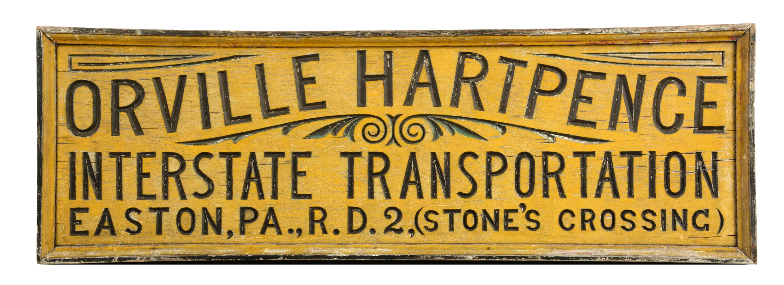 Orville Hartpence Interstate Transportation Wooden Advertising Sign.
