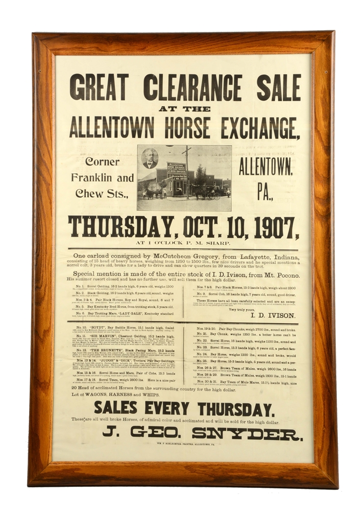 1907 Allentown Horse Exchange Advertising Broadside.
