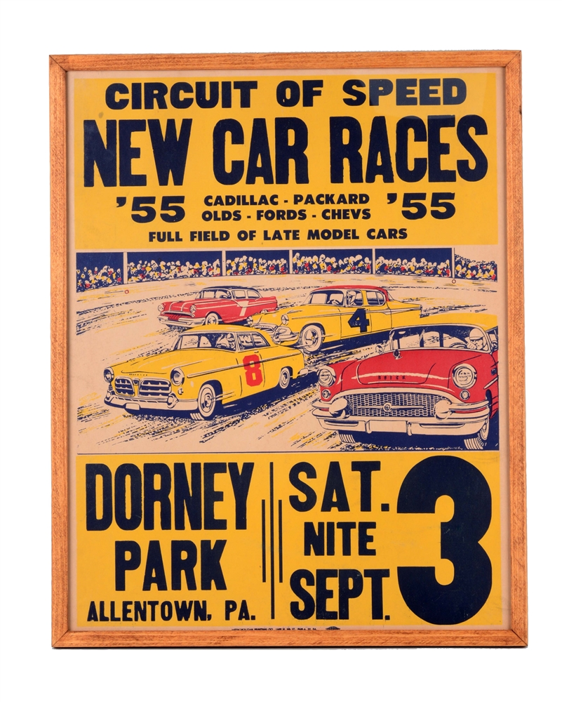 Dorney Park Car Racing Cardboard Sign.