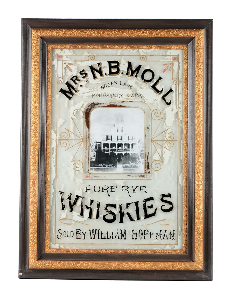Mrs N.B.Moll Whiskies Reverse on Glass Advertising Sign.