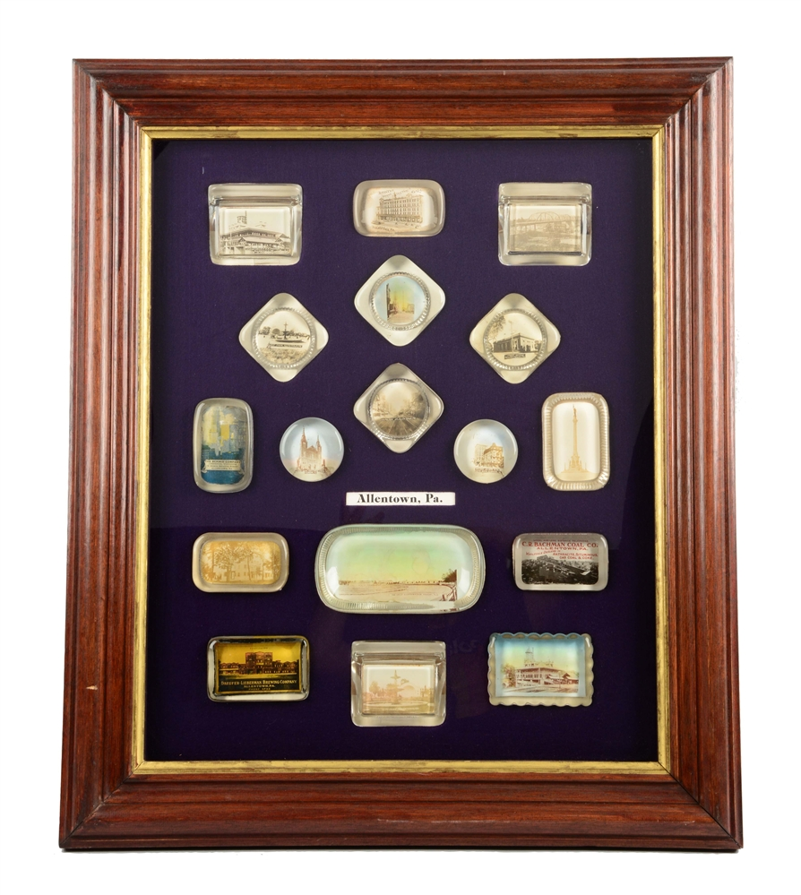 Framed Allentown, Pennsylvania Glass Paper Weights.