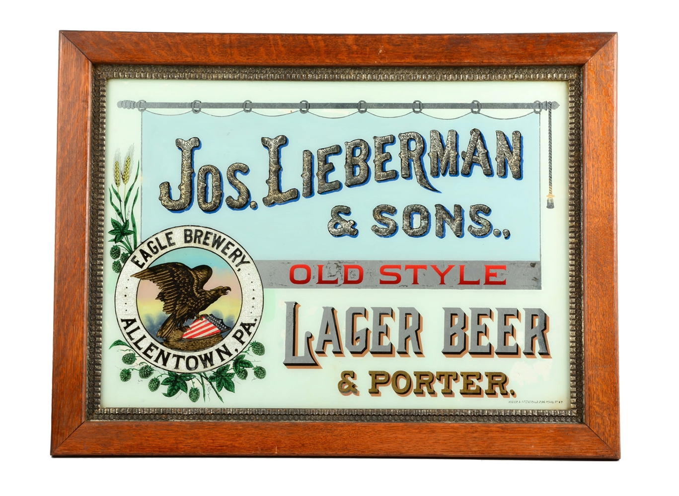 Joseph Lieberman Lager Beer Reverse Glass Sign.
