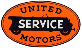 United Motors Service Porcelain Oval Sign.
