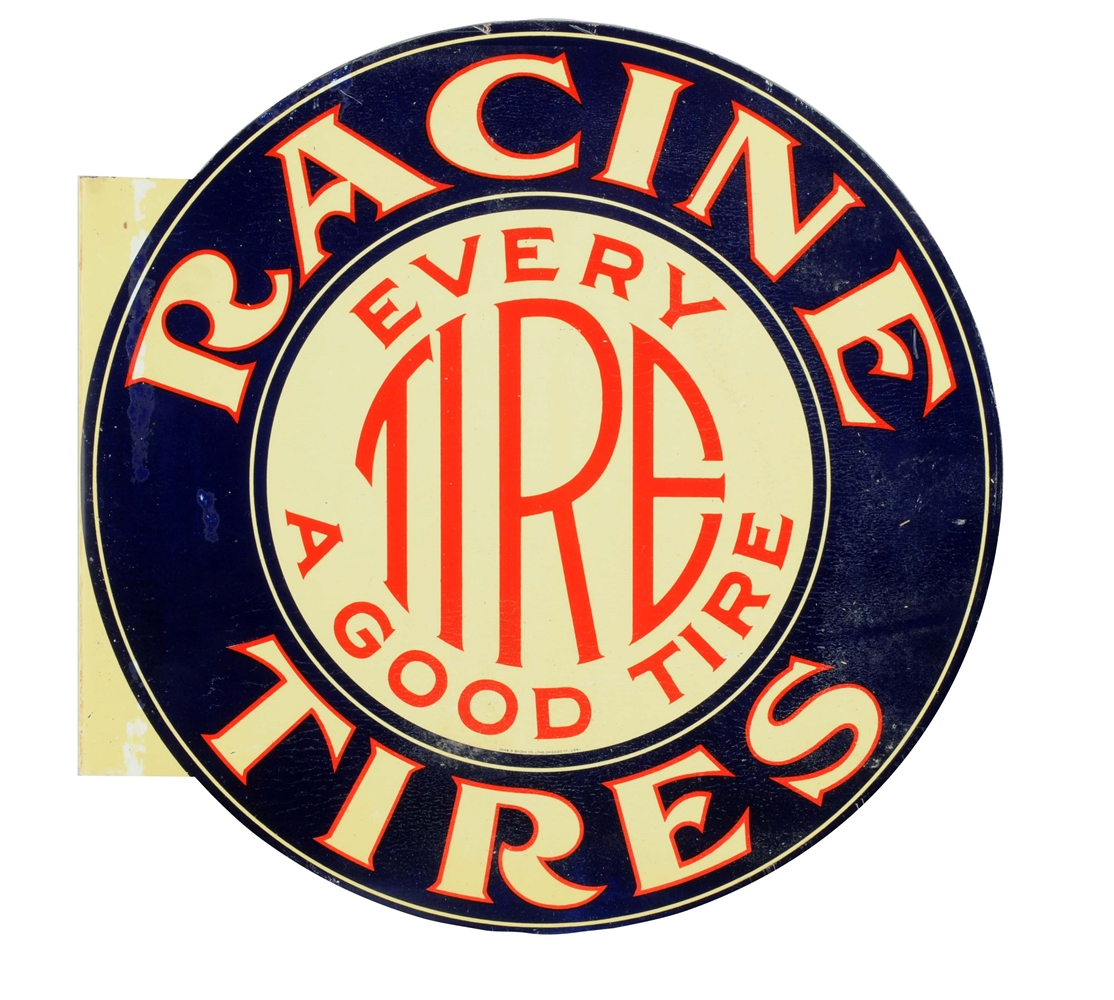 Racine Tires Tin Flange Sign.