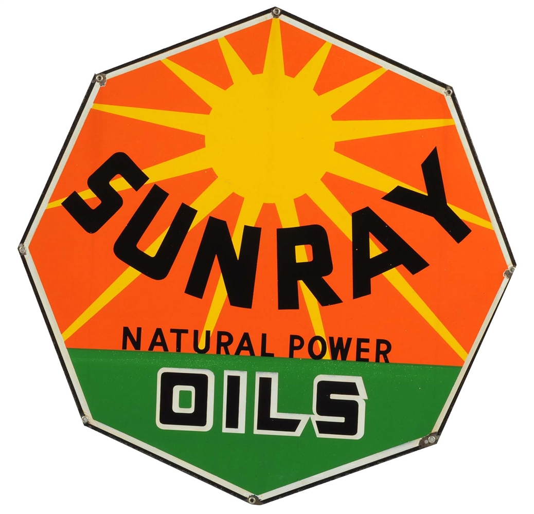 DX Sunray Oils Porcelain Curb Sign.
