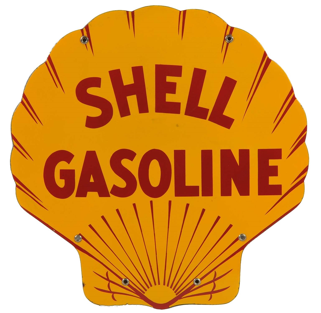 Shell Gasoline Porcelain Curb Sign.