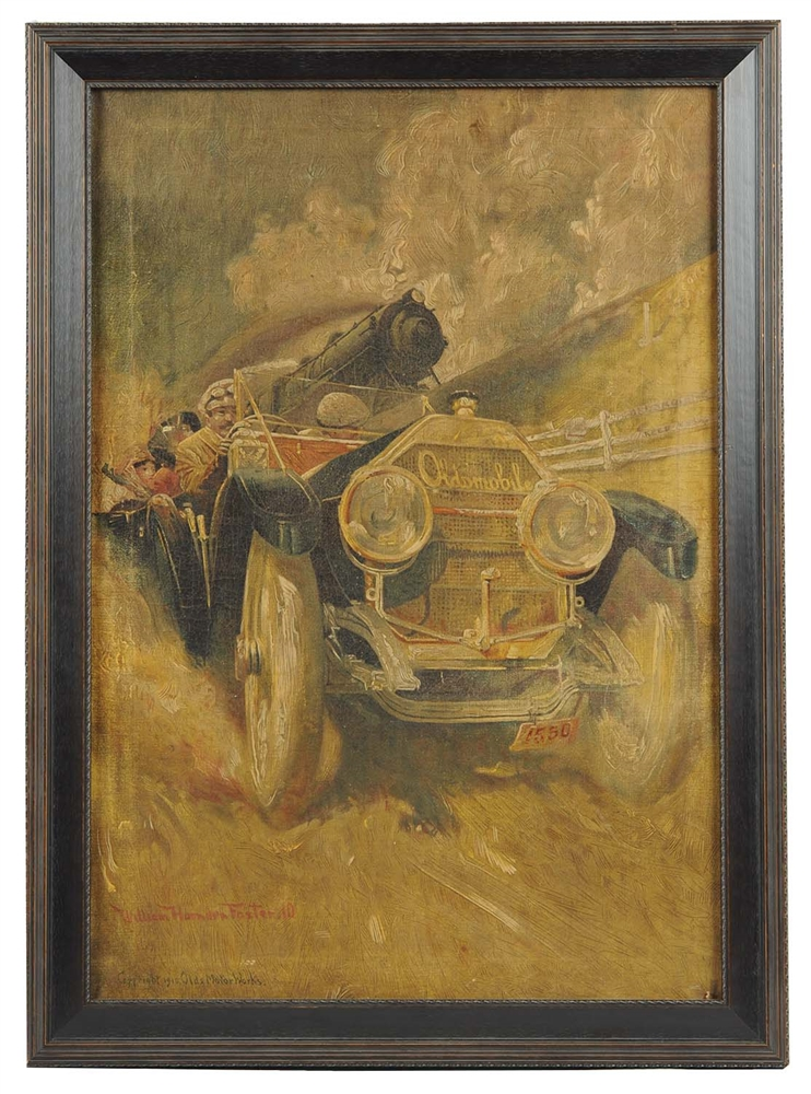 Oldsmobile Oilograph Framed Artwork.
