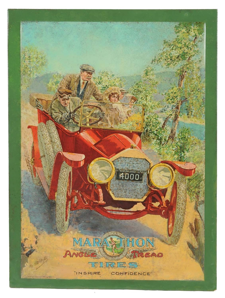 Marathon Tires w/ Touring Car Graphic Tin Litho Sign.
