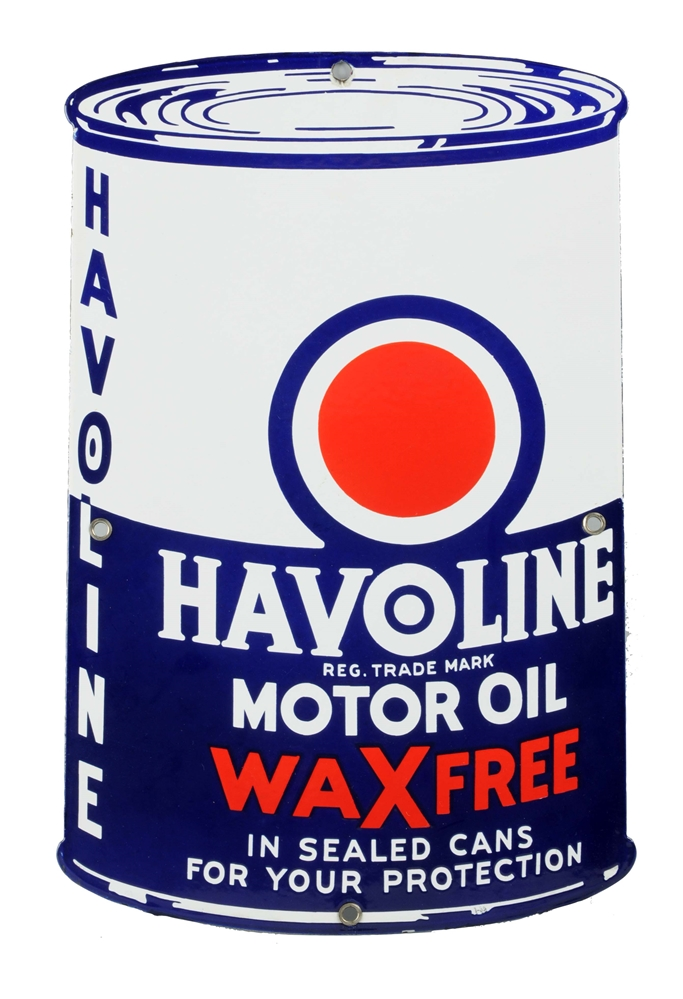 Havoline Wax Free Motor Oil Can Shaped Sign.