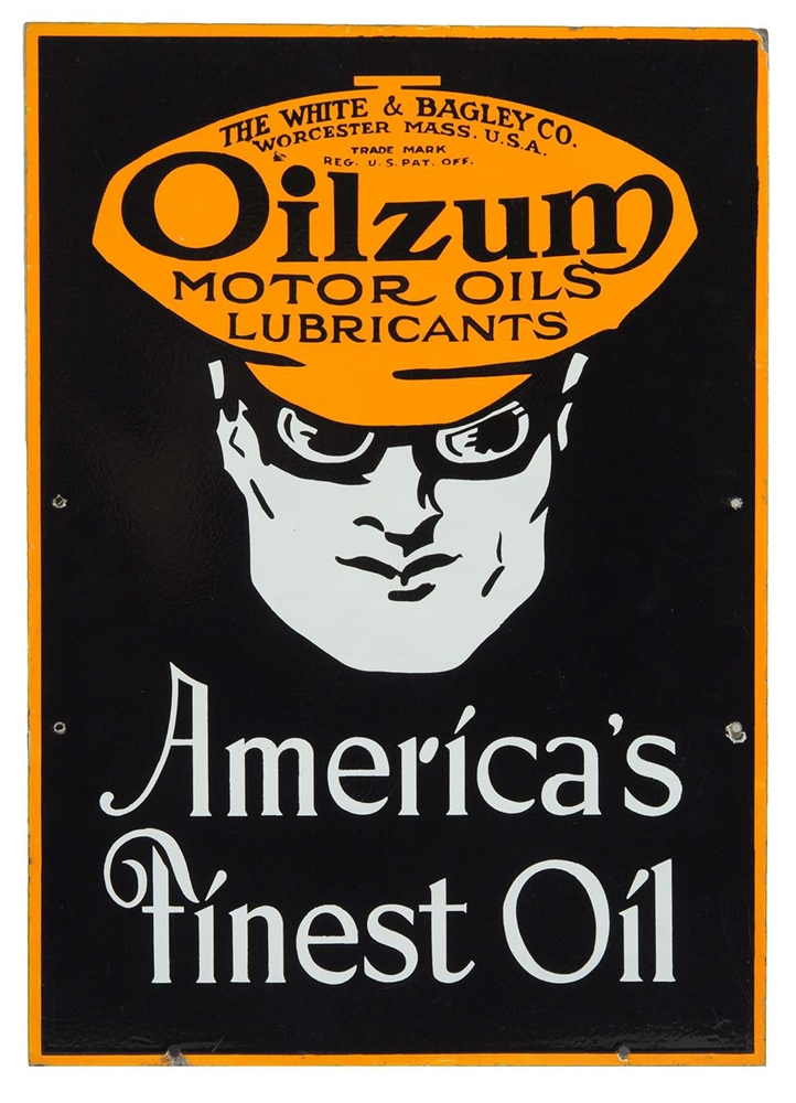 Oilzum Motor Oil Americas Finest Porcelain Curb Sign.