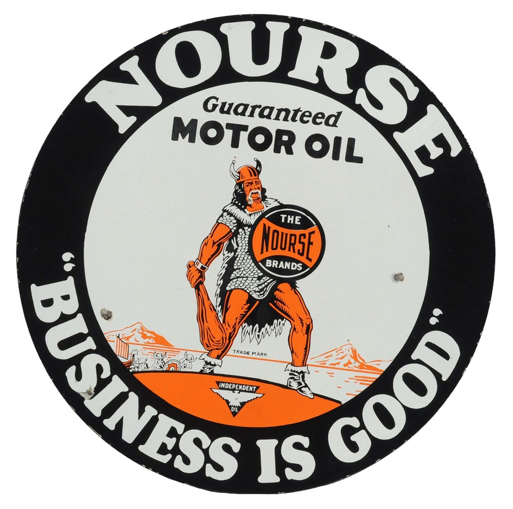 "Nourse Motor Oil w/ Viking Graphic 28"" Porcelain Sign."