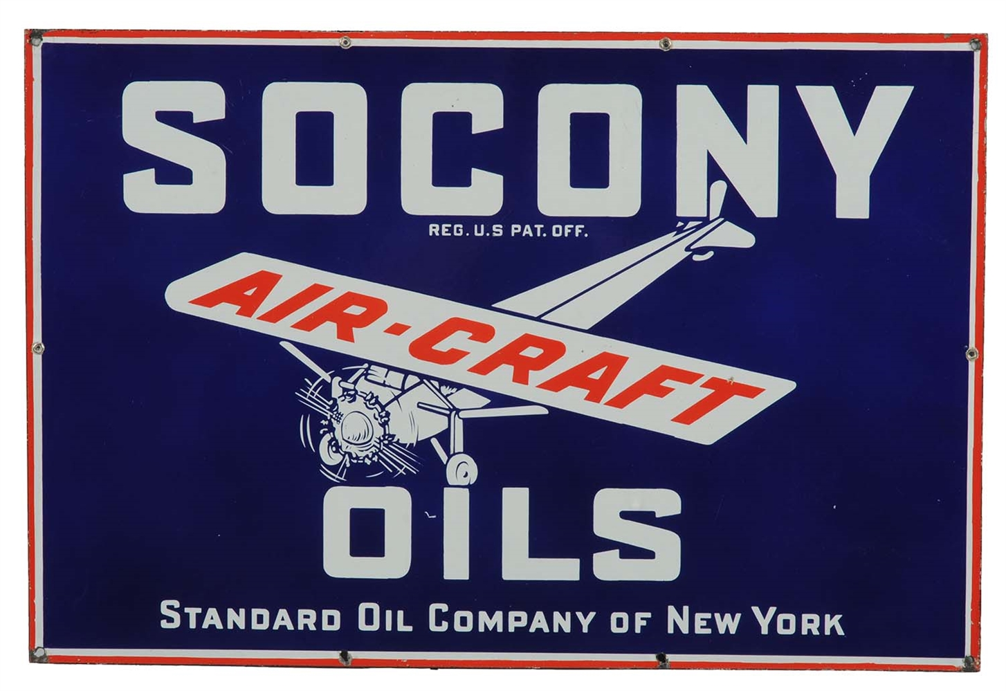 Socony Aircraft Motor Oils w/ Airplane Graphics Sign.