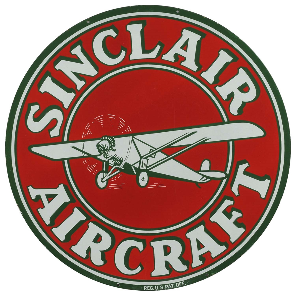 "Sinclair Aircraft w/ Airplane Graphic 48"" Porcelain Sign."