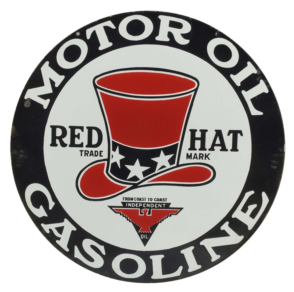 "Red Hat Motor Oil & Gasoline 32"" Porcelain Sign."