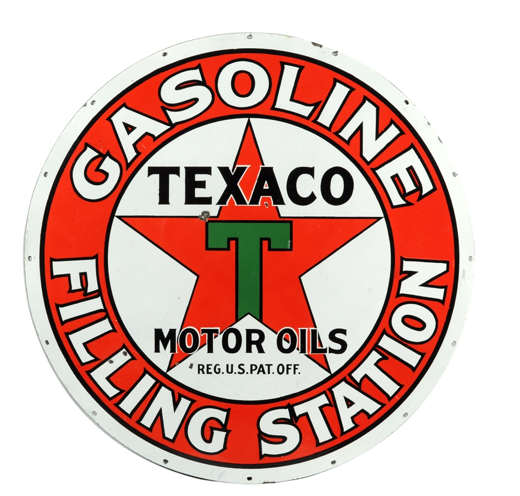 Texaco Gasoline Filling Station Porcelain Sign.