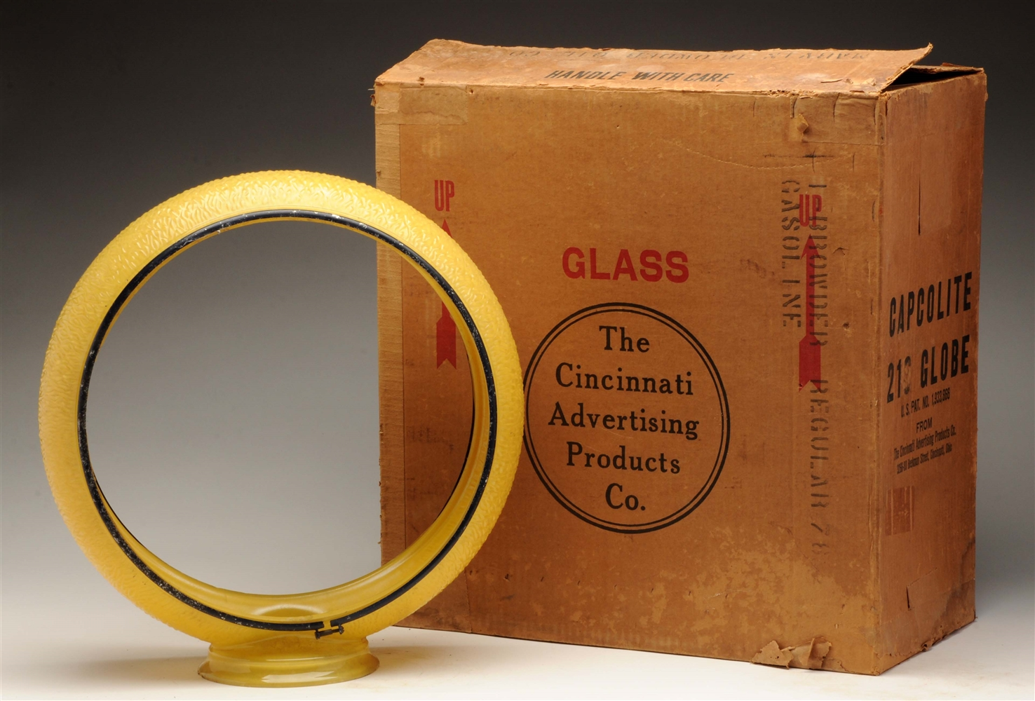 "Original 13-1/2"" Yellow Ripple Globe Body In Box."
