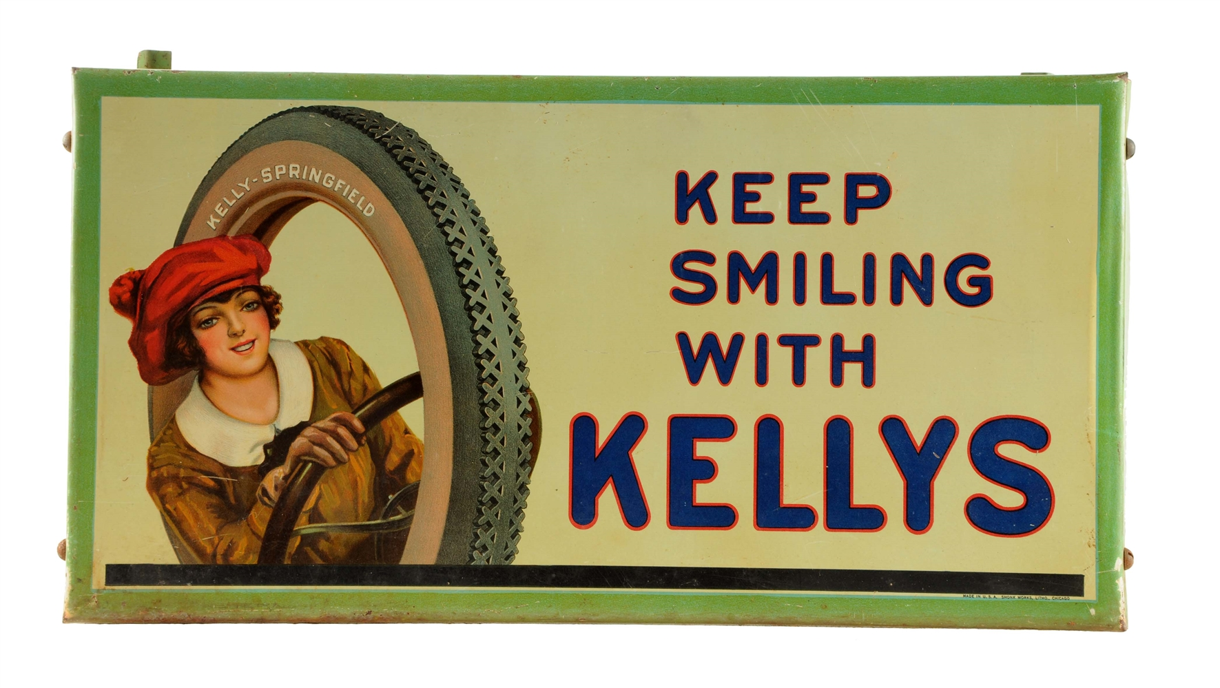 Kelly Tires w/ Lotta Miles Graphic Tin Litho Tire Stand.
