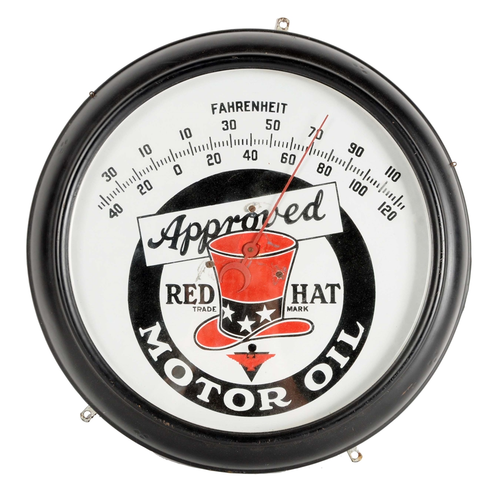 Red Hat Motor Oil & Gasoline Porcelain Thermometer.