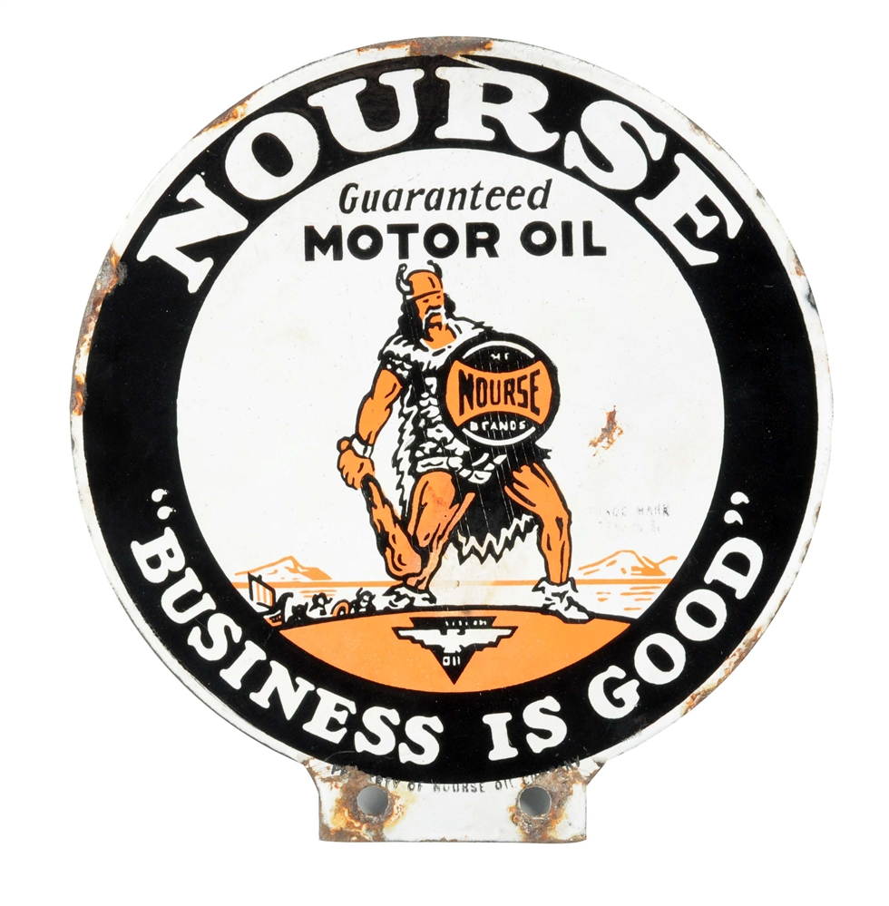 Nourse Motor Oil Porcelain Lubester Paddle Sign.