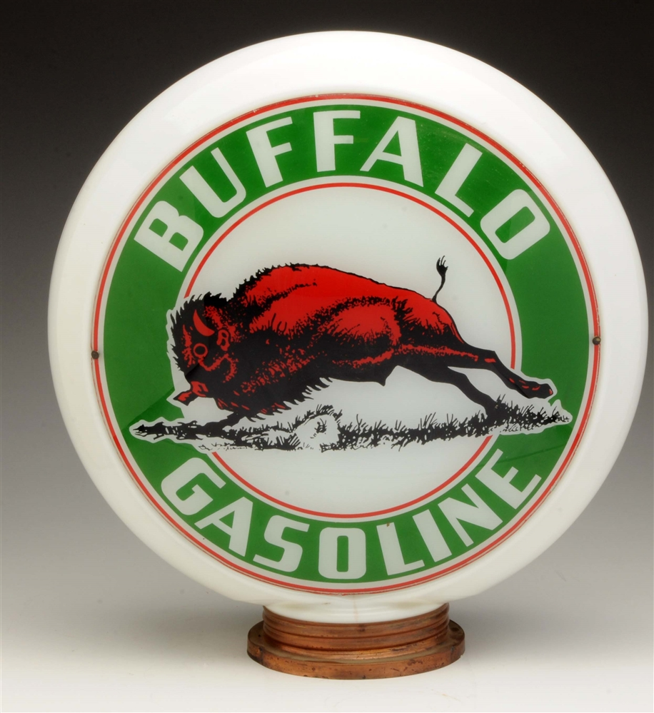"Buffalo Gasoline 13-1/2"" Globe Lenses on a Milk Glass Body."