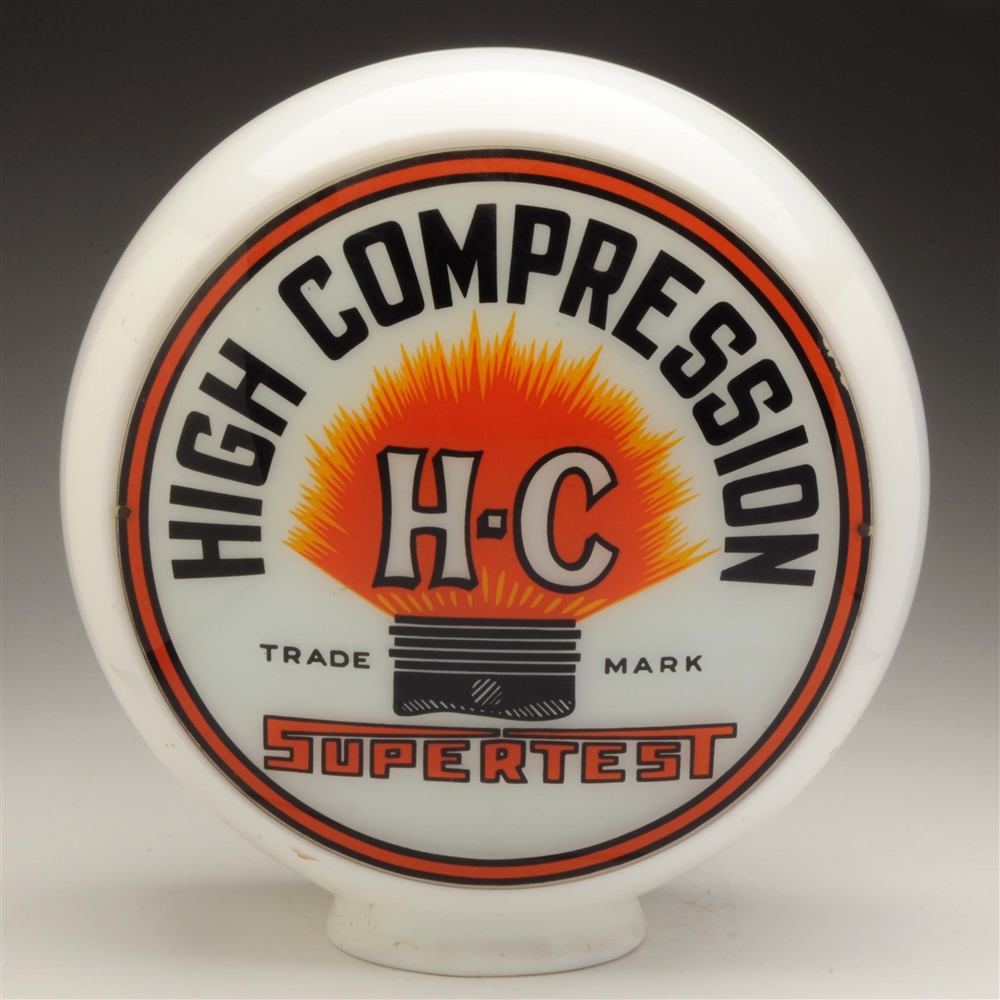 "High Compression 13-1/2"" Globe Lenses on Milk Glass Body."