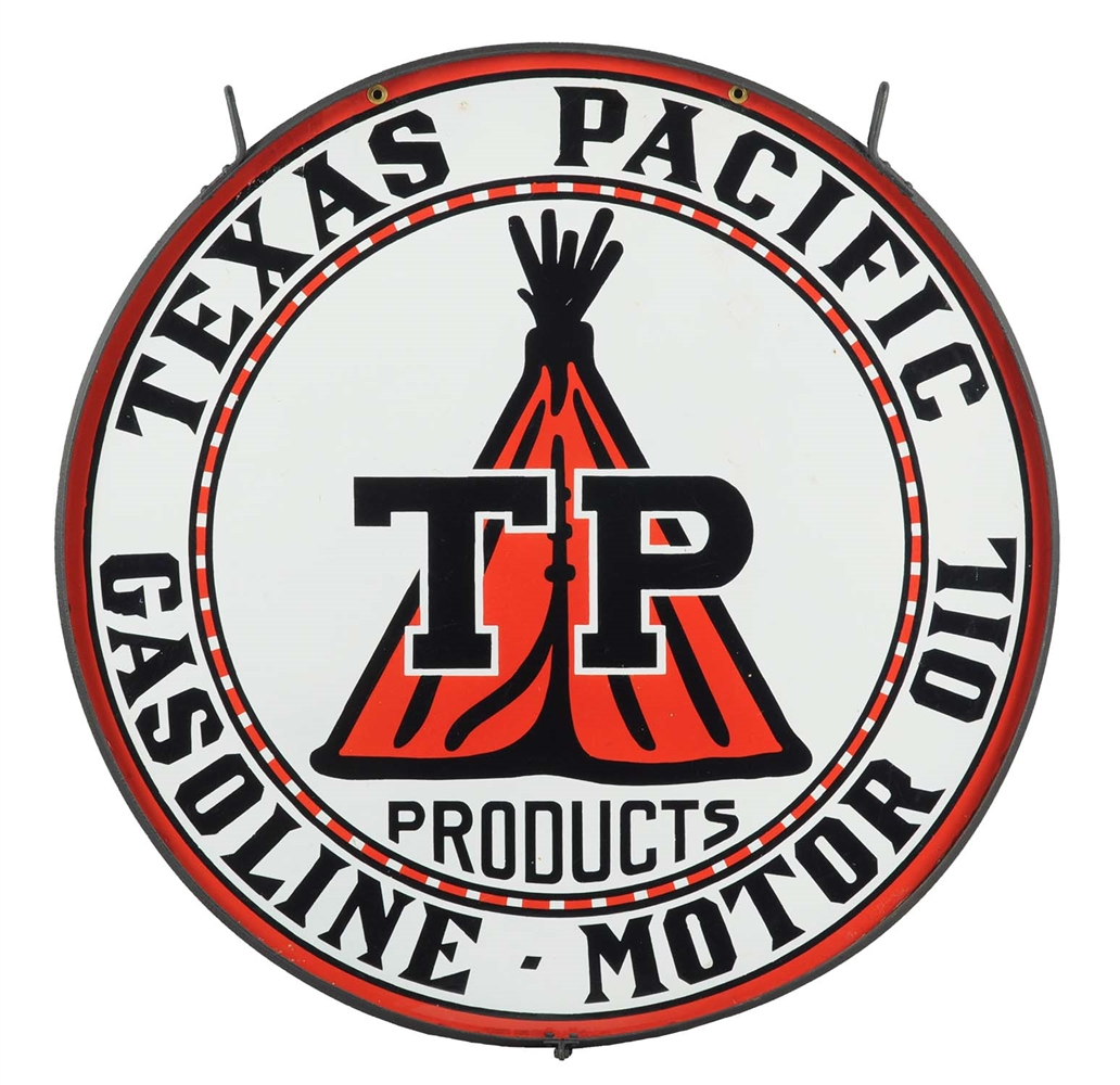 "Texas Pacific w/ Tee Pee Graphic 42"" Porcelain Sign."