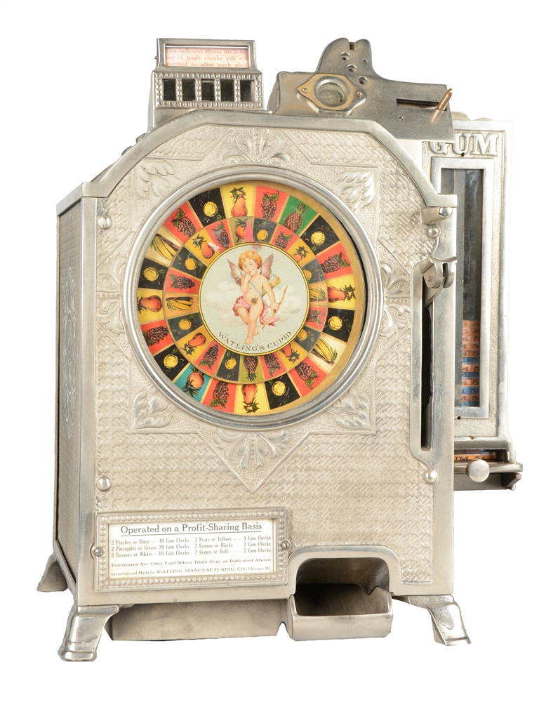 **Rare 5¢ Watling Cupid Counter Wheel Slot Machine With Side Vendor.