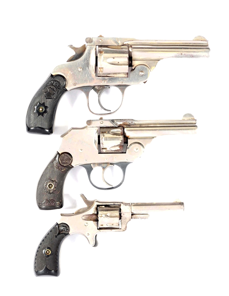 (C) Lot Of 3: Early Nickel Plated Revolvers.