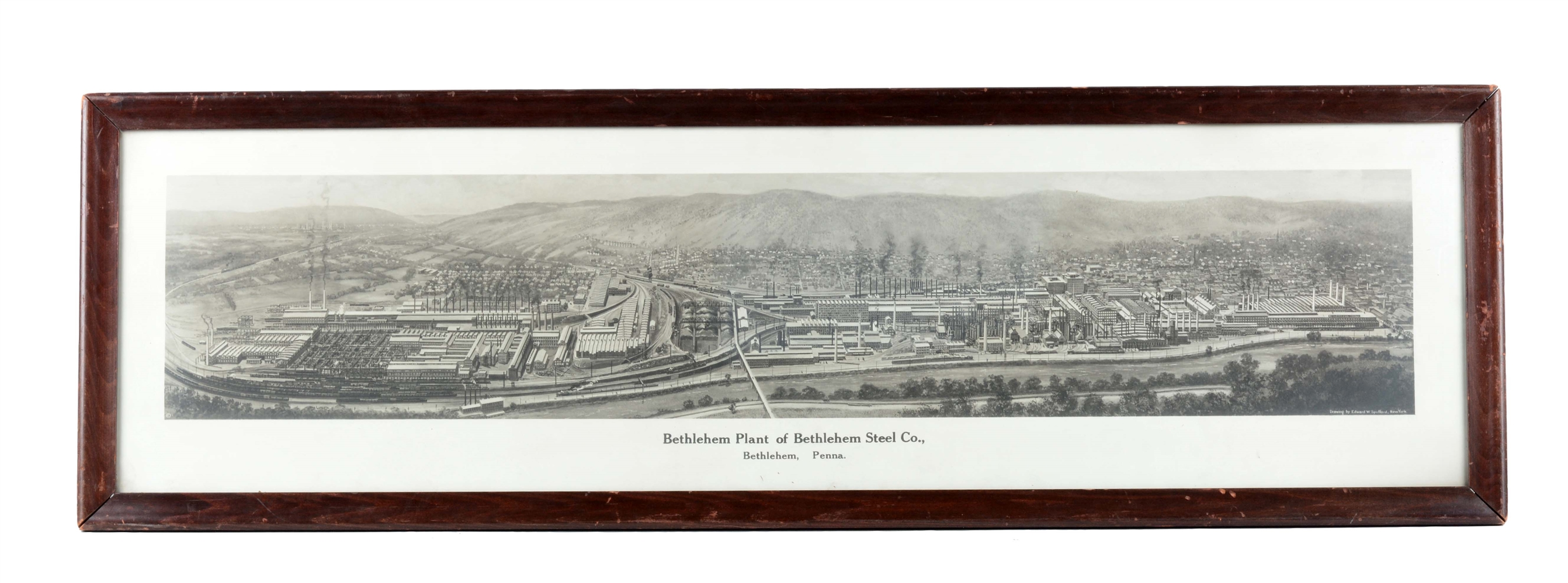 Framed Drawing of Bethlehem Steel Company.